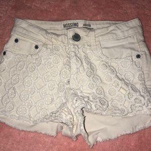 Off white lace denim shorts